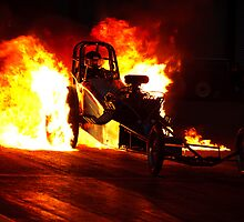 Flaming Burnout at Dragstalgia, Santa Pod by dskids