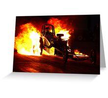 Flaming Burnout at Dragstalgia, Santa Pod Greeting Card