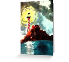 Light house as weather gets worse, watercolor Greeting Card