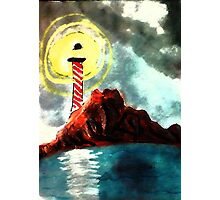 Light house as weather gets worse, watercolor Photographic Print