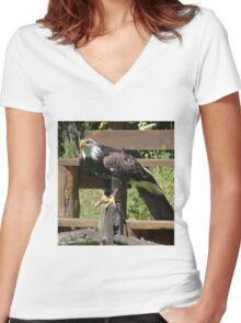 Powerful Eagle Women's Fitted V-Neck T-Shirt