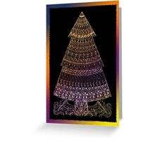 Christmas Tree Coloured Drawing Greeting Card