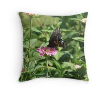 Enjoying A Flower Throw Pillow