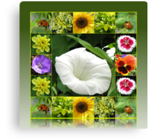 End of Summer Floral Collage in Reflection Frame Canvas Print