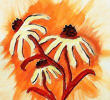 3 big head daisies, orange backround, watercolor by Anna  Lewis