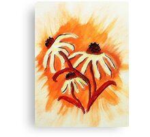 3 big head daisies, orange backround, watercolor Canvas Print