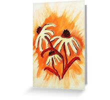 3 big head daisies, orange backround, watercolor Greeting Card