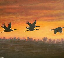 migration at sunset by Dan Wagner