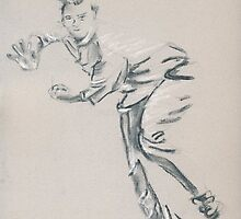Cricket - bowler by Paulette Farrell