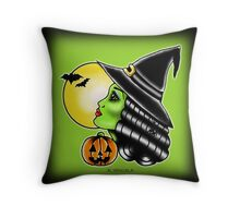 Halloween Flash   Lady Head Witch Throw Pillow