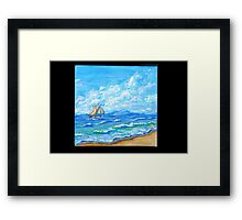 Tropical Paradise with Sail Framed Print