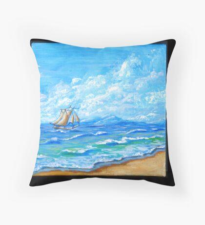 Tropical Paradise with Sail Throw Pillow