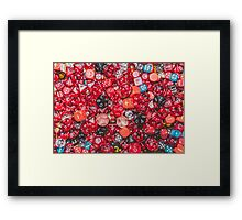 All the red dice Framed Print