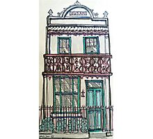 Victorian Terrace house, Melbourne, Australia. ©  Pen and wash on fabric. Photographic Print