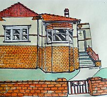 Art Deco house, Melbourne, Australia. © Pen and wash on fabric. by Elizabeth Moore Golding