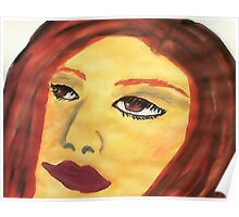 She is in her own world, thinking, watercolor Poster
