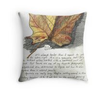 Nature Sketching Day 3- Yellow Sycamore Leaf Throw Pillow