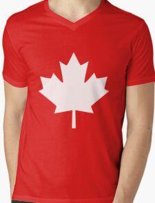 Canada Maple Leaf Flag Emblem Mens V-Neck T-Shirt