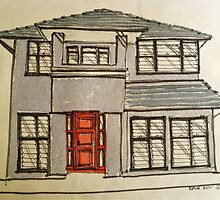 Modern house. Melbourne, Australia. Pen and wash on fabric. by Elizabeth Moore Golding