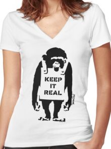 Banksy - Keep It Real Women's Fitted V-Neck T-Shirt