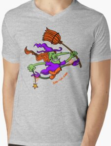 Crazy Witch Jumping Mens V-Neck T-Shirt
