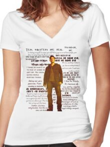Dean Winchester quotes - red Women's Fitted V-Neck T-Shirt