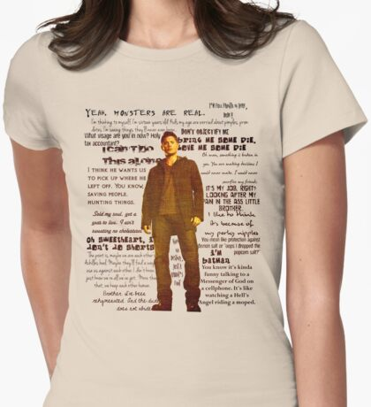 Dean Winchester quotes - red Womens Fitted T-Shirt