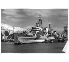 Hms Belfast and city skyline Poster