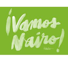 Vamos Nairo! White Bold Brush Script on Movistar Green Photographic Print