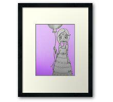 Whimsical Spooky Folk Art Girl - Sugar Skull with Balloon - Purple Glow Framed Print