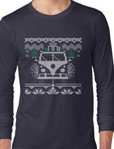 Vintage Retro Camper Van Sweater Knit Style Long Sleeve T-Shirt