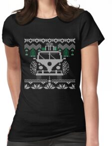Vintage Retro Camper Van Sweater Knit Style Womens Fitted T-Shirt