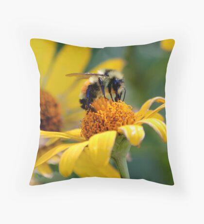 Bumble Bee at Work Throw Pillow