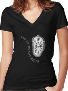 Salvador Dali Inspired Melting Clock. Time is melting away. Women's Fitted V-Neck T-Shirt