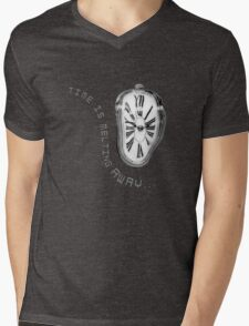 Salvador Dali Inspired Melting Clock. Time is melting away. Mens V-Neck T-Shirt