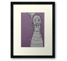 Whimsical Spooky Folk Art Girl - Sugar Skull with Balloon - Purple Haze Framed Print