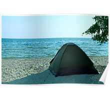 Tent on the solitude beach Poster