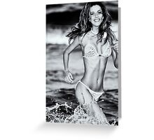 Tatyana running in the ocean. Greeting Card