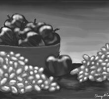Apples & Grapes B&W by Sherry Cornett