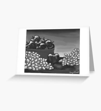 Apples & Grapes B&W Greeting Card