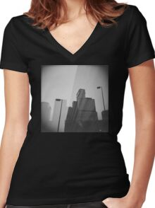 Downtown Double Exposure Women's Fitted V-Neck T-Shirt