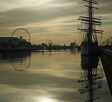 Early morning reflections at Dublin port by Esther  Moliné