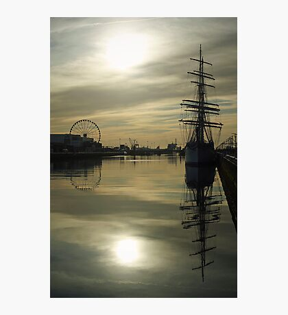 Early morning reflections at Dublin port Photographic Print