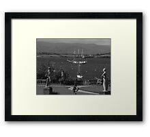 bantry bay in,blustery black and white Framed Print