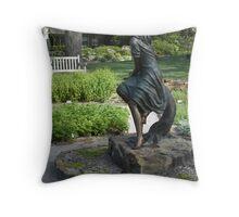 Sitting in Garden Reader Throw Pillow