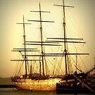 Tall Ship at Sunset by Karen Tregoning