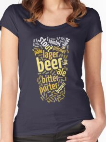 Beer Glass Word Cloud Women's Fitted Scoop T-Shirt