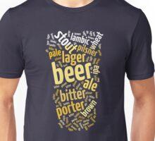 Beer Glass Word Cloud Unisex T-Shirt
