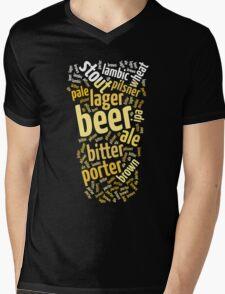 Beer Glass Word Cloud Mens V-Neck T-Shirt