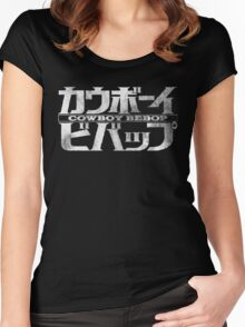 Cowboy Bebop Watercolor Logo White on Black Women's Fitted Scoop T-Shirt